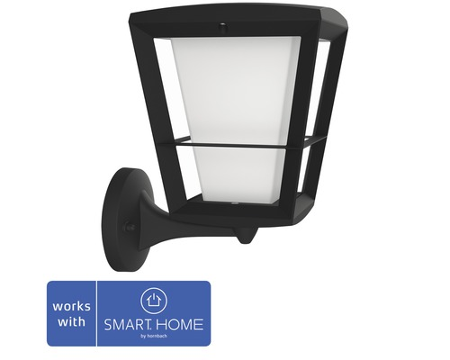 Philips hue LED Wandleuchte Econic White & Color Ambiance 15W 1150 lm schwarz H 301 mm - Kompatibel mit SMART HOME by hornbach