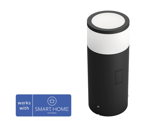 Philips hue LED Sockelleuchte Basisset White & Color Ambiance 8W 640 lm schwarz H 252 mm - Kompatibel mit SMART HOME by hornbach