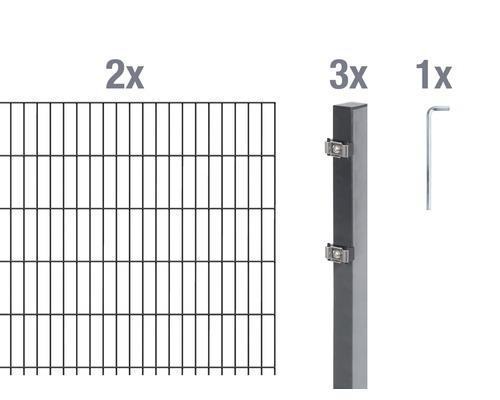 Doppelstabmatten-Set 6/5/6 400x80 cm antrazit