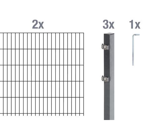 Doppelstabmatten-Set 6/5/6 400x100 cm antrazit