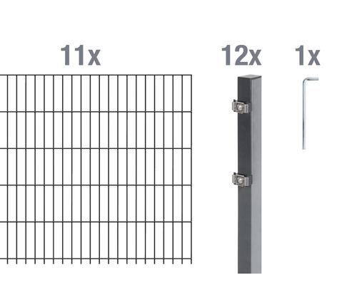 Doppelstabmatten-Set 6/5/6 2200x100 cm antrazit