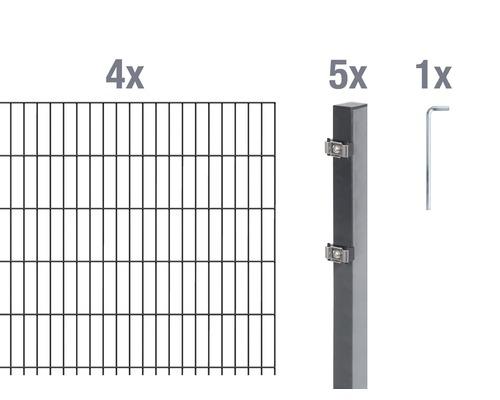 Doppelstabmatten-Set 6/5/6 800x80 cm antrazit