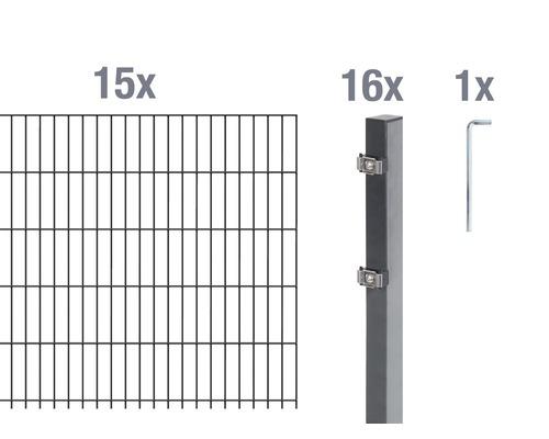 Doppelstabmatten-Set 6/5/6 3000x120 cm antrazit