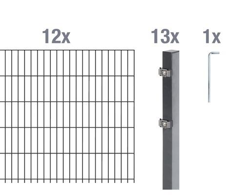 Doppelstabmatten-Set 6/5/6 2400x80 cm antrazit
