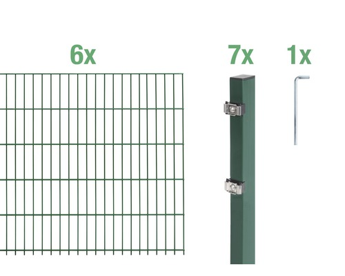 Doppelstabmatten-Set 6/5/6 1200x80 cm grün