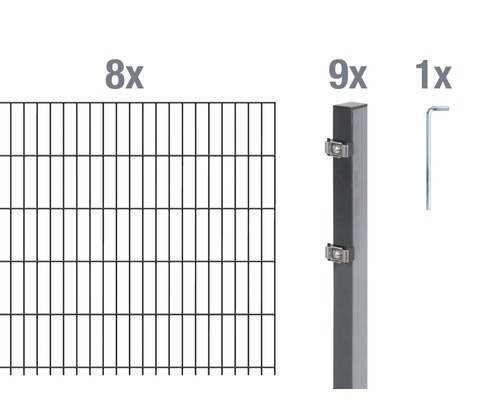 Doppelstabmatten-Set 6/5/6 1600x80 cm antrazit