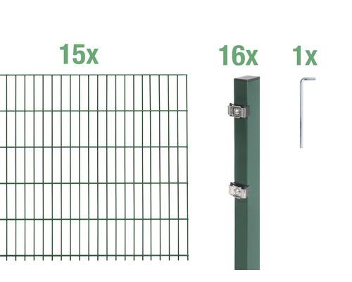 Doppelstabmatten-Set 6/5/6 3000x120 cm grün