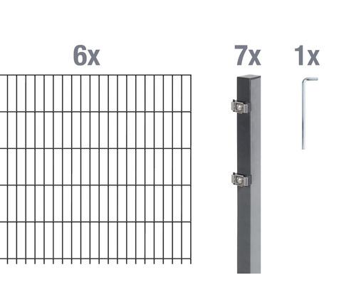 Doppelstabmatten-Set 6/5/6 1200x100 cm antrazit