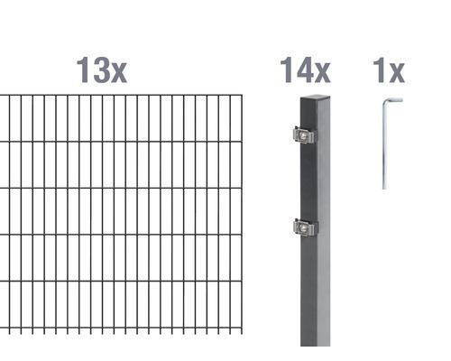 Doppelstabmatten-Set 6/5/6 2600x100 cm antrazit