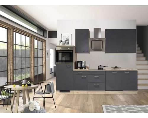 Küchenzeile Flex Well Tiago 280 cm Basaltgrau/San Remo Eiche hell