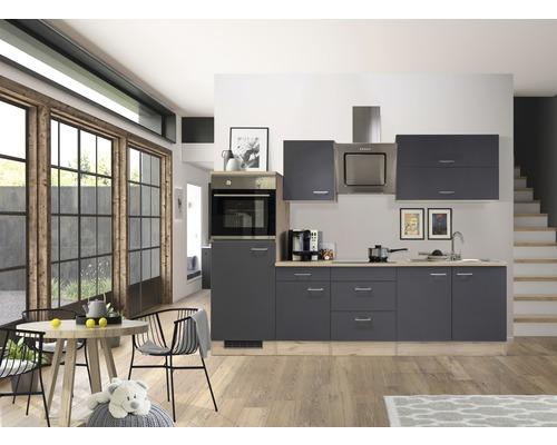 Küchenzeile Flex Well Tiago 270 cm Basaltgrau/San Remo Eiche hell