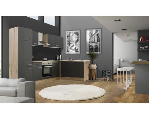 Winkelküche Flex Well Tiago 280 cm Basaltgrau/San Remo Eiche hell