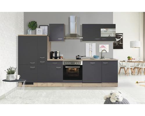 Küchenzeile Flex Well Tiago 310 cm Basaltgrau/San Remo Eiche hell