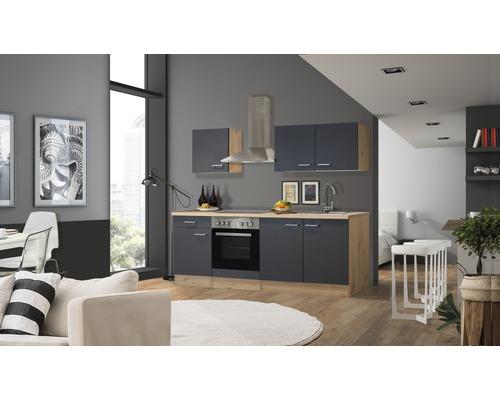 Küchenzeile Flex Well Tiago 210 cm Basaltgrau/San Remo Eiche hell