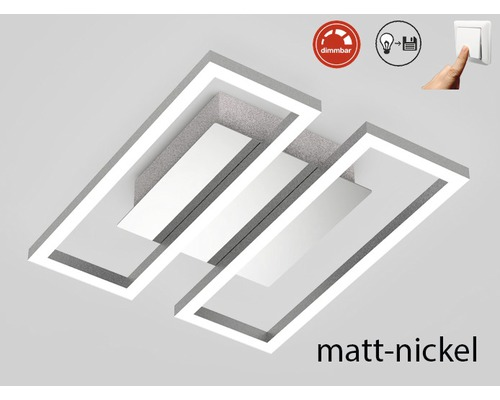 LED Deckenleuchte dimmbar 1x14,5W 1x1400 lm 3000 K warmweiß Frames nickel/matt LxBxH 280/238/60 mm