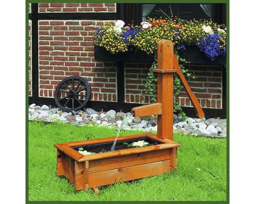 Holztrog eckig 70 cm Wasserspiel Solar