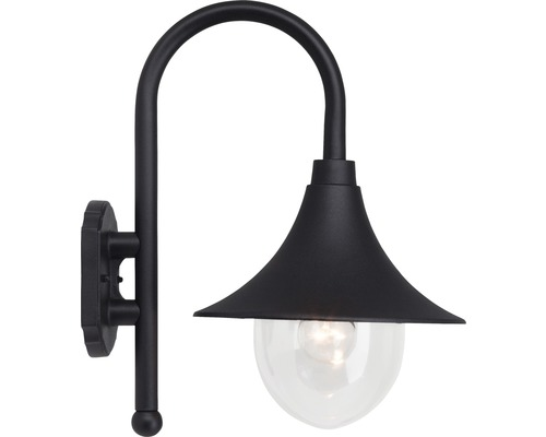 Außenwandleuchte IP44 1-flammig HxØ 420x260 mm Brita schwarz Metall/Glas