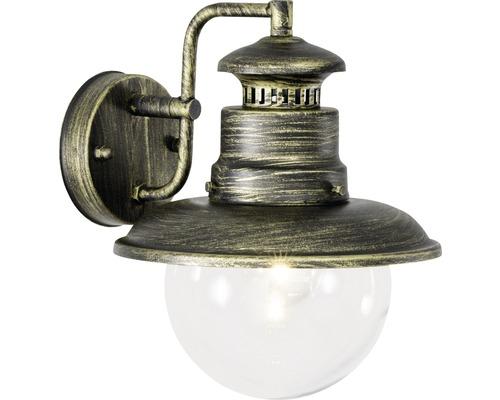 Außenwandleuchte IP44 1-flammig HxØ 260x215 mm Aaren hängend schwarz/gold Metall