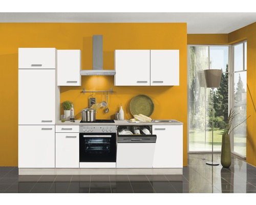 Küchenzeile Optifit Genf 10 cm Weiß / Akazie-Dekor inkl. Einbaugeräte