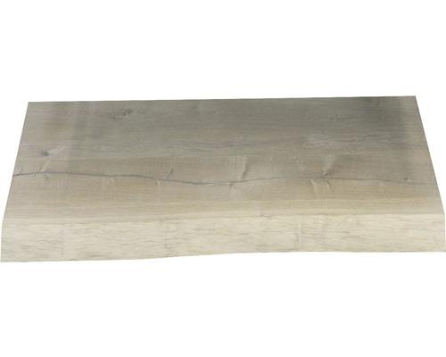 Waschtischplatte Top 60x46 cm Baumkante Schwartenbrett Seite Eiche massiv matt ohne Ausschnitt