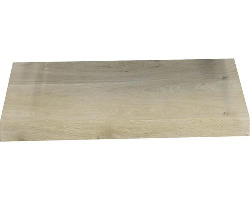 Waschtischplatte Top 60x46 cm Gerade Seite Baumkante Schwartenbrett Eiche massiv matt ohne Ausschnitt