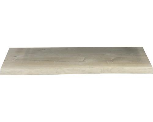 Waschtischplatte Top 100x46x4 cm Baumkante Schwartenbrett Seite Eiche massiv matt ohne Ausschnitt