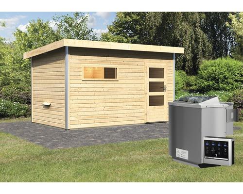 Saunahaus Karibu Topas 3 ink.9 kW Bio Ofen u.ext.Steuerung mit Vorraum und Holztür mit Klarglas