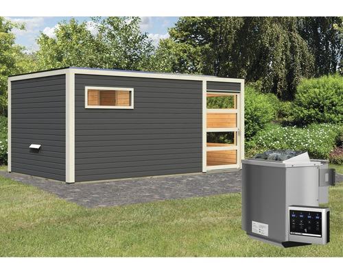 Saunahaus Karibu Zirkon 2 inkl.9 kW Bio Ofen u.ext.Steuerung mit Vorraum und Holztüre mit Klarglas anthrazit/weiß
