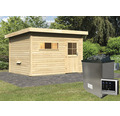 Saunahaus Woodfeeling Aplit 2 inkl.9 kW Ofen u.ext.Steuerung mit Vorraum und Holztüre mit Isolierglas wärmegedämmt