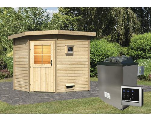 Saunahaus Woodfeeling Onyx 2 inkl.9 kW Ofen u.ext.Steuerung ohne Vorraum mit Holztüre und Isolierglas wärmegedämmt