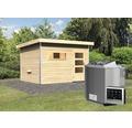Saunahaus Karibu Topas 2 inkl.9 kW Bio Ofen u.ext.Steuerung mit Holztüre und Klarglas