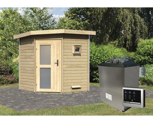 Saunahaus Karibu Rubin 1 inkl.9 kW Ofen u.ext.Steuerung mit Holztüre und Milchglas
