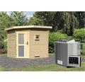 Saunhaus Karibu Rubin 2 inkl.9 kW Bio Ofen u.ext.Steuerung mit Holztüre und Milchglas