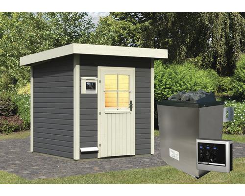 Saunahaus Woodfeeling Turmalin 2 inkl.9 kW Ofen u.ext.Steuerung ohne Vorraum mit Holztüre und Isolierglas wärmegedämmt