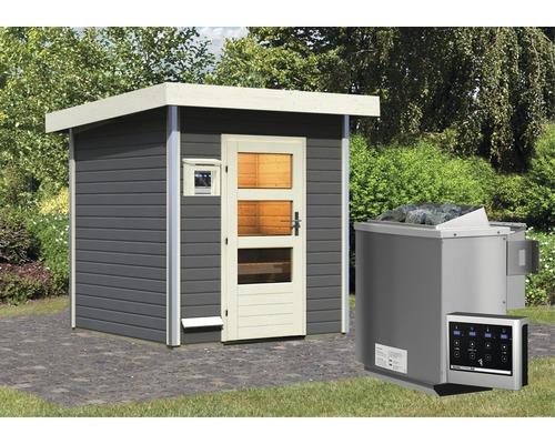 Saunahaus Karibu Opal 2 inkl.9 kW Bio Ofen u.ext.Steuerung mit Holztüre und Klarglas anthrazit/weiß
