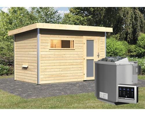 Saunahaus Karibu Topas 1 inkl.9 kW Bio Ofen u.ext.Steuerung mit Holztüre und Milchglas