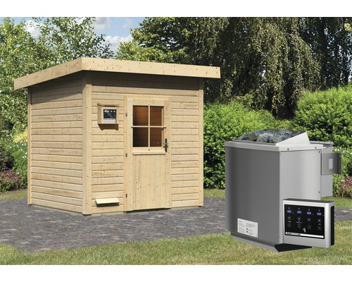 Saunahaus Woodfeeling Turmalin 3 inkl.9 kW Bio Ofen u.ext.Steuerung ohne Vorraum mit Holztüre und Isolierglas wärmegedämmt
