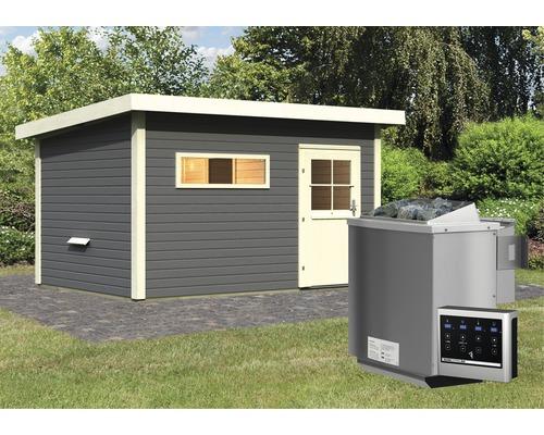 Saunahaus Karibu Fuchsit 3 inkl.9 kW Bio Ofen u.ext.Steuerung mit Voraum und Holztüre mit isolierglas wärmegedämmt anthrazit/weiß