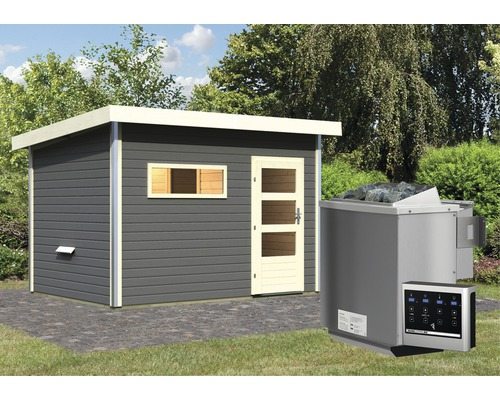 Saunahaus Karibu Topas 2 inkl.9 kW Bio Ofen u.ext.Steuerung mit Holztüre und Klarglas anthrazit/weiß