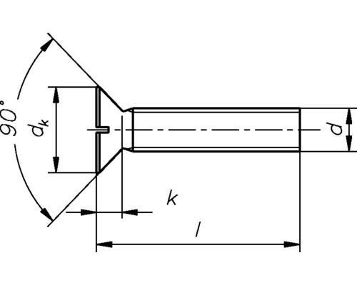 Senkschraube m.Schlitz 3 x 6 mm, Messing, DIN 963, 100 Stück