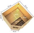 Saunahaus Karibu Rubin 3 inkl.9 kW Ofen u.ext.Steuerung mit Holztüre und Milchglas