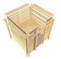 Saunahaus Woodfeeling Nakrit ohne Ofen mit Vorraum und Holztüre mit Isolierglas wärmegedämmt