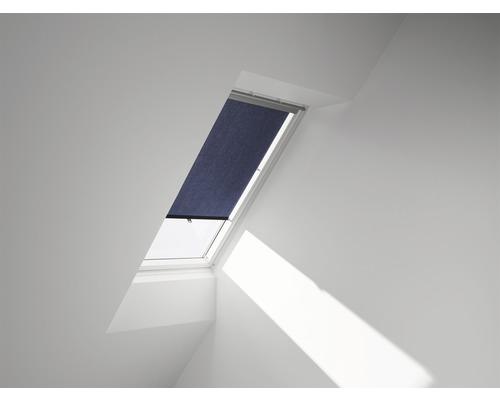 VELUX Sichtschutzrollo blau uni manuell mit Haltekrallen RG 067 9050