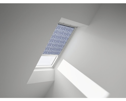 VELUX Sichtschutzrollo blau gepunktet elektrisch RML M08 4160S