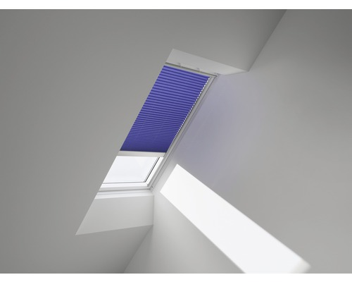 VELUX Plissee-Faltstore uni blau solarbetrieben FSL 206 1268S