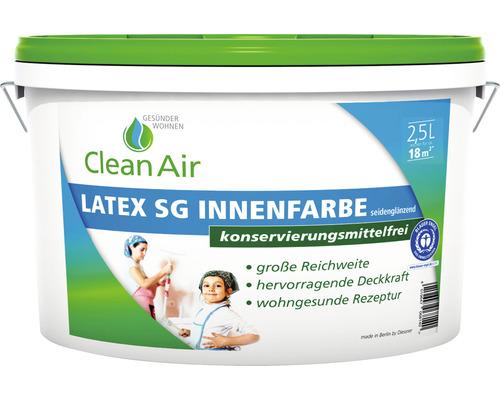 Clean Air GESÜNDER WOHNEN Latex SG Innenfarbe Latexfarbe konservierungsmittelfrei weiß 2,5 l