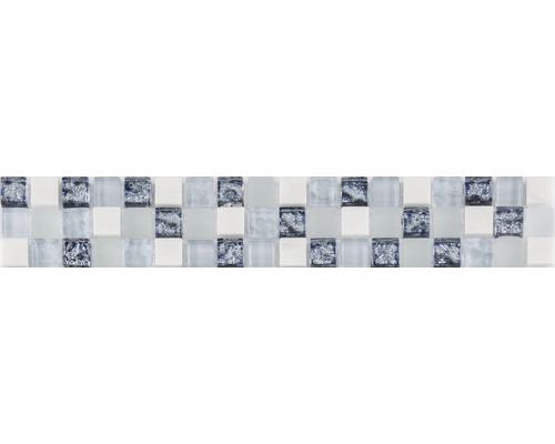 Glasbordüre mit Naturstein blau mix 4,8x29,8 cm