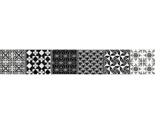 Glasbordüre Glas schwarz/weiß dekoriert 4,8x29,8 cm