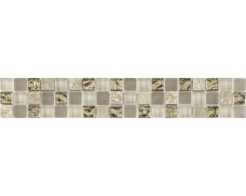 Glasbordüre mitNaturstein creme mix 4,8x29,8 cm