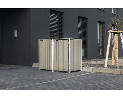 Mülltonnenbox HIDE Holz 139,4x80,7x115,2 cm grau